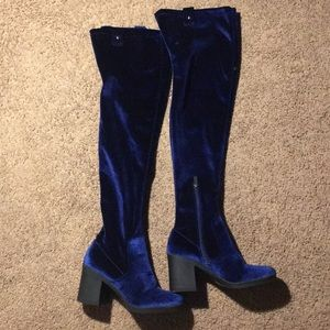 Suede Blue Knee Boots